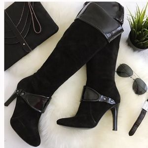 NINE WEST Tubbs Knee High Suede Boot Patent 8.5